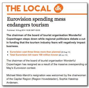 Eurovision Copenhagen financial problem