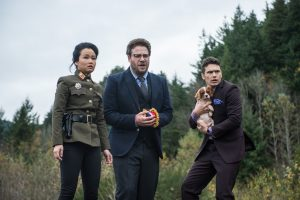 Sook (Diana Bang) with Aaron (Seth Rogen) and Dave (James Franco) in Columbia Pictures' THE INTERVIEW.