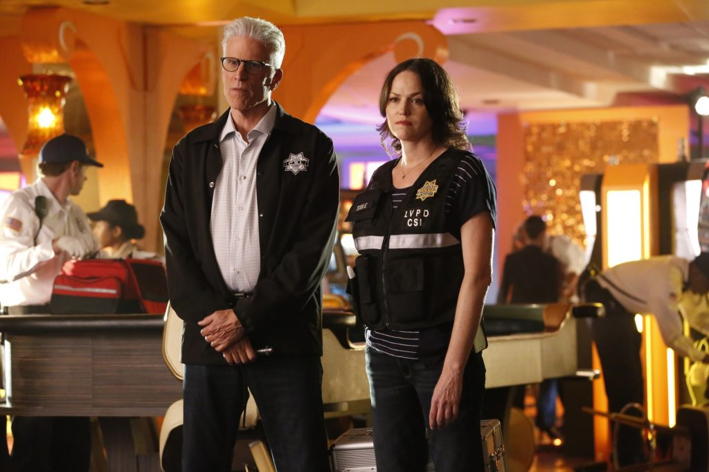 """""""Immortality Parts I and II"""" -- Grissom and Willows return to help the CSI team solve a catastrophic case that paralyzes all of Las Vegas, on the special two-hour series finale of CSI: CRIME SCENE INVESTIGATION, Sunday, Sept. 27 (9:00-11:00 PM, ET/PT), on the CBS Television Network.  Past and current series stars scheduled to appear include William Petersen, Marg Helgenberger, Ted Danson, Jorja Fox, Eric Szmanda, Robert David Hall, Paul Guilfoyle, Wallace Langham, David Berman, Elisabeth Harnois and Jon Wellner.  Also, Melinda Clarke returns as Lady Heather. Pictured:  Ted Danson and Jorja Fox  Photo: Robert Voets/CBS ©2014 CBS Broadcasting, Inc. All Rights Reserved"""