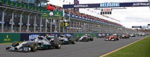 MELBOURNE, AUSTRALIA - 16 MARCH 2014: #44 Lewis Hamilton (GBR) (L), Mercedes AMG Petronas F1 Team, leads during the start of Formula 1's Australian Grand Prix.