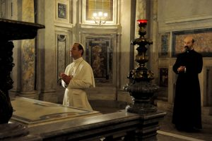 """set of """"The young Pope"""" by Paolo Sorrentino. 10/13/2015 sc.  119 ep. 1 In the picture Jude Law and Javier Càmara. Photo by Gianni Fiorito"""